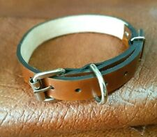 Dog collar, dog's neck circumference from 29 cm to 39 cm, thick natural leather
