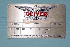 OLIVER  MACHINERY  - Motor Nameplate