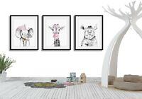 Nursery Wall Art,Set of 3 Nursery prints,Animal Safari Wall Decor,Girls Deco
