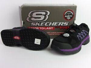 SKECHERS Athletic Shoe 5 EE Women's Black/Purple Alloy Toe - NEW Slip Resistant