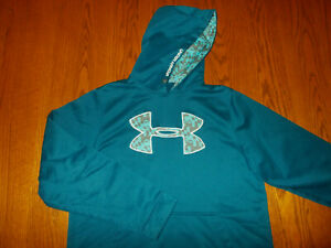 UNDER ARMOUR TEAL BLUE HOODIE WOMENS LARGE NICE CONDITION