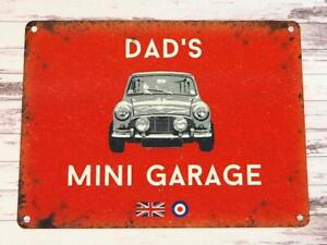 DAD'S MINI GARAGE, SMALL TIN SIGN, AUSTIN FATHERS DAY GIFT