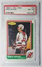 1986 O Pee Chee #10 Greg Adams Rookie Card New Jersey Devils RC NHL PSA 8 NM-MT