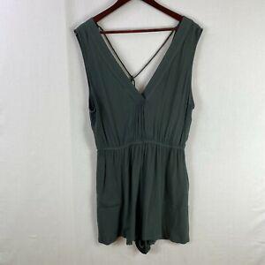 TIGERLILY Size 14 Womens Grey Sleeveless Surplice-Back Romper V-Neck Casual
