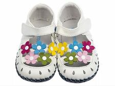 Freycoo Girls Toddler Leather Soft Sole Shoes Sandals White Flowers Size 12-18M
