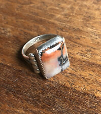 Vintage Antique Men's Ring Dendritic Picture Agate Sterling Silver 7