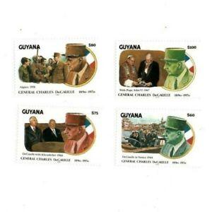 Guyana - 1991 - Charles Degaulle - Set Of 4 Stamp - MNH
