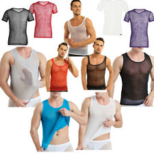Mens See Through Fishnet Blouse T-shirt Dance Club Sheer Tank Vest Undershirt