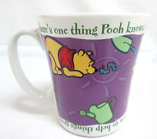 "FTD Inc. Disney Coffee Mug POOH ""Winnie the Pooh"" 4"" dia x 4.5""tall White Purple"