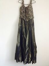Aspeed long Olive Green sleeveless formal dress with shawl- Size 3/4