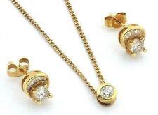 Ladies womens 18carat 18ct yellow gold diamond chain, pendant & stud earring set