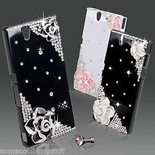 NEW COOL BLING DIAMANTE CASE COVER FOR SONY XPERIA Z WHITE BLACK PINK FLOWER UK