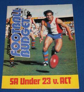 1985 South Australian Football Budget SA Under 23 v ACT SANFL - Scarce