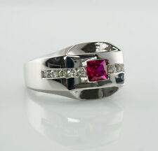 Mens Diamond Ruby Ring 14K White Gold Band Vintage