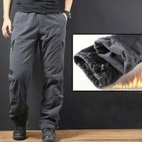 Winter Men Loose Pocket Trousers Outdoor Pants Warm Thicken Fleece Plus SZ New