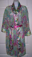 Women's Plus Size 1X Robe Pretty Turquoise Blue & Pink Flower Print New