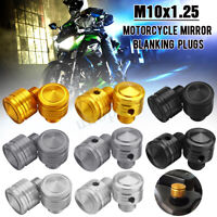 2x Aluminium M10 Threaded Motorcycle Mirror Blanking Plugs Cap Scooter Motorbike