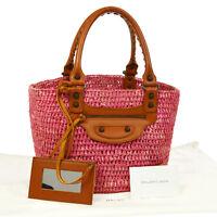 Authentic BALENCIAGA Raffia Basket Hand Bag Pink Straw Leather Vintage G02639