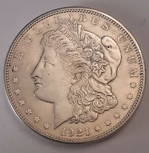 1921-S US Morgan Dollar Silver $1 Coin USA - Bright with Nice Detail (FREEPOST)
