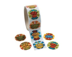SALE - Roll of 100 Teachers Motivational Phrases Stickers for Kids