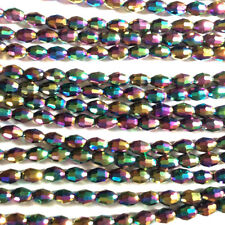Green Purple Blue Teal Cobalt 6x4mm Faceted Oval Chinese Crystal Beads 2 Strands