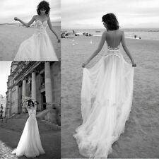 Boho Sheer Back Lace Backless Beach Wedding Dresses A Line Bridal Gowns Custom