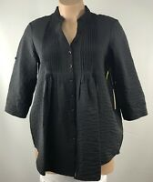 True Grit Dry Goods Womens Tunic Size XL Black  3/4 Sleeve Buttons Down Top NWT