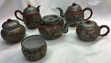 Antique Chinese Terracotta/Pewter Tea Set-DEHYUWEIHAIWEI-5 pcs,1 pcSunShineChang