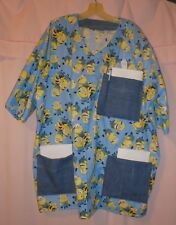 Yellow Friends on Blue Scrubs Top with 3 Blue Jean Pockets for Size 3X  FSMTP53