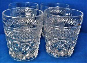 Lot of 4 Vintage Anchor Hocking Clear Wexford Old Fashions On The Rocks Tumblers