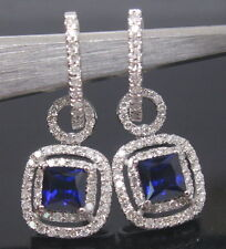 SOLID 18K WHITE GOLD NATURAL SMALL NICE BlUE SAPPHIRE DIAMOND DROP EARRING