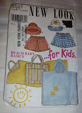 New Look Pattern 6521 Beach Baby Basics Size 1/2 to 4 Shorts Hat Bag Mat Robe