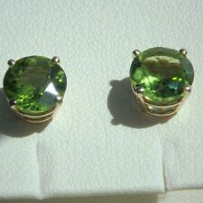 14K  14ct Yellow Gold 3.68 Ct Natural Peridot Stud Earrings Round Cut 8 mm