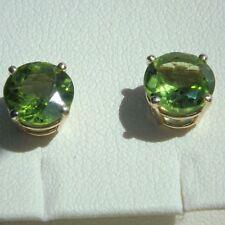 14K  14ct Yellow Gold 3.68 Ct Natural Peridot Stud Earrings Round Cut 8 mm