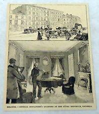 1889 magazine engraving ~ BELGIUM--GENERAL BOULANGER'S QUARTERS, HOTEL MENGELLE