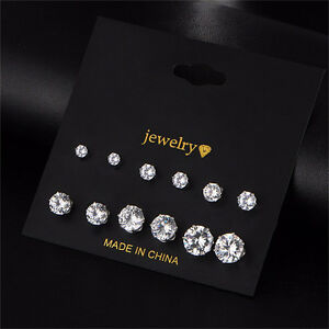 6 pair Women Crystal Rhinestone Ear Stud Earrings Men Earring Set Jewellery