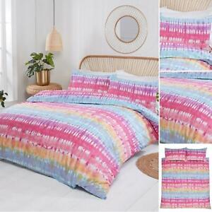 Tie Dye Duvet Cover Set Colourful Rainbow Stripes Bedding - Single & Double