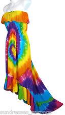Rainbow Tie Dye High Low Sundress Casual Summer Beachwear NEW Womens S M L
