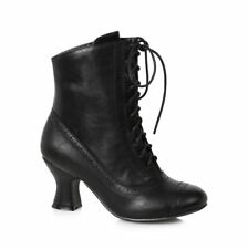 Black Lace Up Victorian Ankle Steampunk Costume Granny Boots Shoes size 7 8 9 10