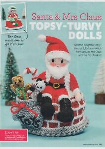 SANTA & MRS CLAUS TOPSY-TURVY DOLL~TOY KNITTING PATTERN~MAGAZINE PULL-OUT