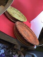 Lot Of 8 - Wicker Rattan Bamboo Paper Plate Holders Dinnerware