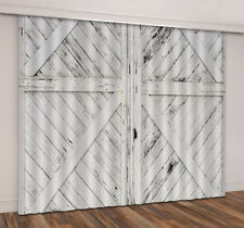 White Paint Rustic Wood Door 3D Curtain Blockout Drapes Fabric Window Print