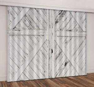 White Paint Rustic Wood Door 3D Curtain Blockout Drapes Fabric Window Print