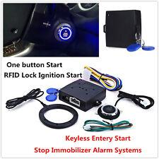 12V Engine Push Start Button RFID Lock Starter Car Alarm System Keyless Entry