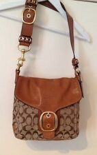 COACH 'Bleecker' Bag,Tan Leather & Monogram Signature Shoulder Bag,Excellent