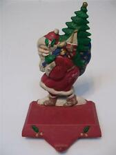 MIDWEST CAST IRON St. Nicholas SANTA Holly CHRISTMAS Stocking HOLDER Hanger