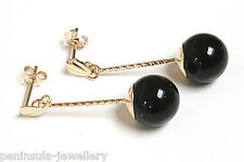 9ct Gold Black Onyx long drop earrings Gift Boxed Made in UK