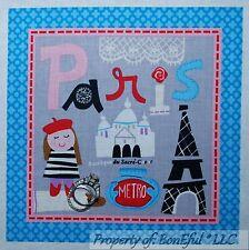 BonEful Fabric Cotton Quilt Block Square Paris France French Girl S Eiffel Tower