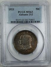 1921 Alabama 2X2 Silver Half Dollar, PCGS MS-63 Toned Commemorative Coin
