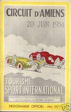 Programme  Grand Prix Automobile AMIENS  20 juin 1954
